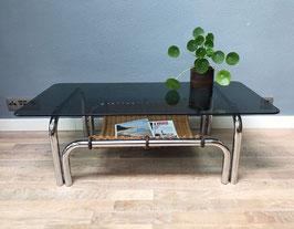 Chromen salontafel met zwart glas