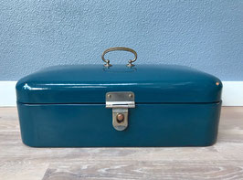 Blauwe emaille broodtrommel