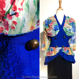 Navy Wrap 80s blouse, France | M