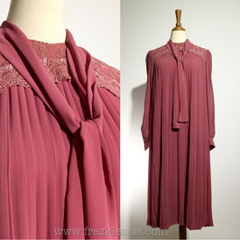 Pink Pleats 70s dress, Japan | M