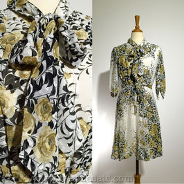 Golden Roses 60s dress, Japan | M