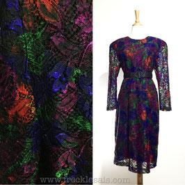Floral Lace 80s dress, Japan | L