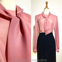 Pink Pussybow 60s blouse, UK | L