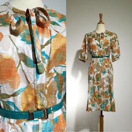 Tangerine Leaves 60s dress, Japan | L