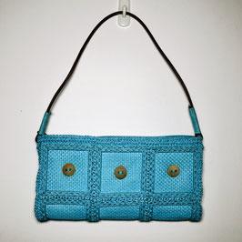 Blue 60s Straw Clutch Handbag, Germany