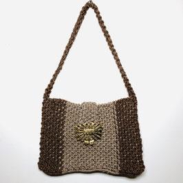 Brown handwoven 70s Crochet Handbag, USA