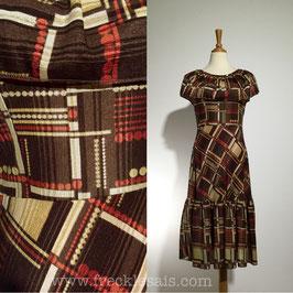Godet Brown 60s dress, Italy | M