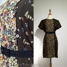 Floral Pillar 70s dress, Japan | S