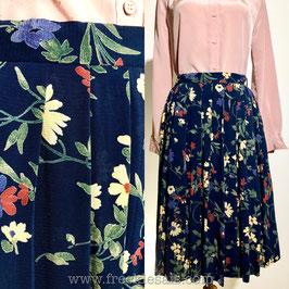 Navy floral 80s aline skirt, Europe | M