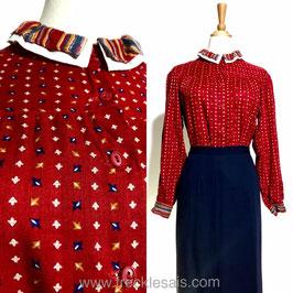 Red Layered 60s shirt blouse, UK | M