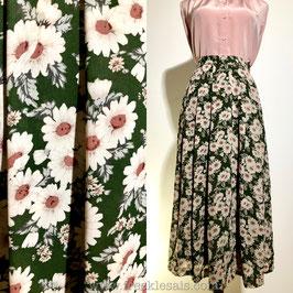 Green floral 70s skirt, Japan | S