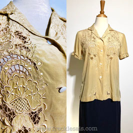 Cutwork Silk 80s blouse, Europe | S