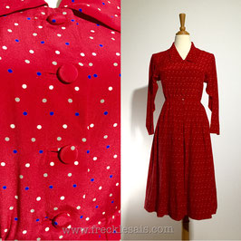 Fiery Polka 50s dress, Japan | S