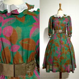Ruffles Leaves 50s dress, Japan | M