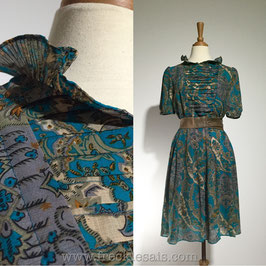 Layered Ruffles 70s dress, Japan | M