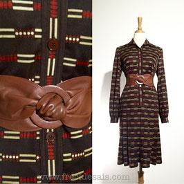 Abacus Brown 70s dress, Japan | L