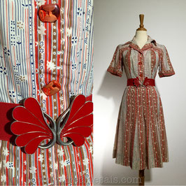 Ditsy Lines 60s dress, Italy   S