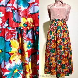 Floral 80s silk skirt, Europe   XS
