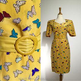 Yellow Butterflies 80s dress, Europe | S