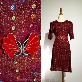Jigzag Flowers 60s dress, Japan   L