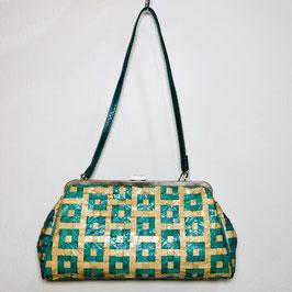 Gingham Weaved Handwoven Handbag, 70s