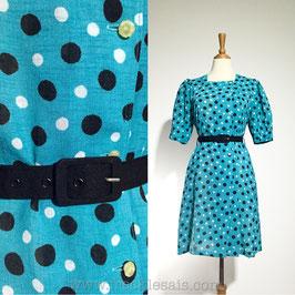 Polka Blue 70s dress, Japan | L