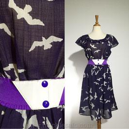 Birds Purple 70s dress, Japan   M