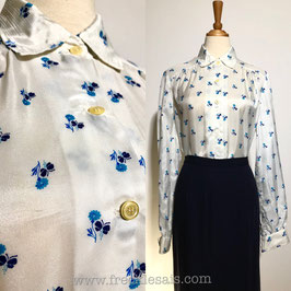 Floral White 70s shirt blouse, Italy | M