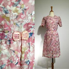 Suede Floral 60s dress, Japan | S