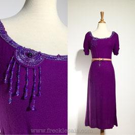 Beads Purple 80s dress, Europe   S