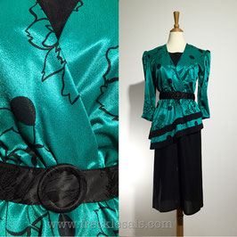 Canda Green 80s dress, UK   S