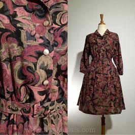Pink Waves 60s dress, Japan   M