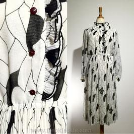 Ruffles BW 70s dress, Japan | S