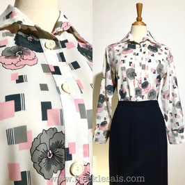 Cubic Floral 70s shirt blouse, Italy   M