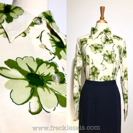 Cream Floral 70s shirt blouse, Italy | M