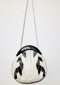 Black White 80s Leather Sling Bag, Italy
