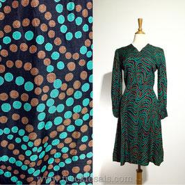 Indigo Swirls 70s dress, Japan   S