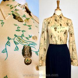 Yellow Owl 70s shirt blouse, UK | M