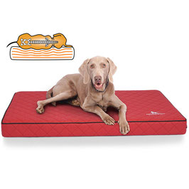 Knuffelwuff Orthopädische Hundematte Juna aus laser gestepptem Kunstleder Größe L-XXXL Rot