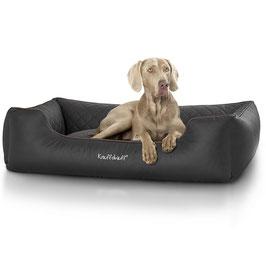 Knuffelwuff gestepptes Leder Hundebett Milan Größe M-XXXL schwarz