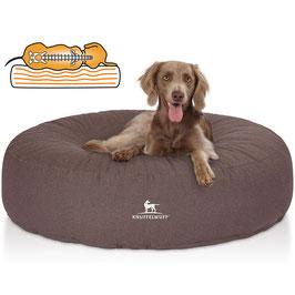 Knuffelwuff Orthopädisches Hundebett Little Rock aus Velour mit Handwebcharakter Graubraun