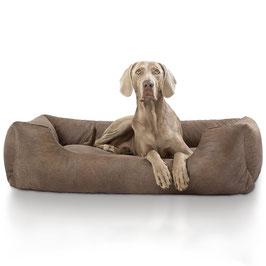 Knuffelwuff Velour Hundebett Tamino im Lederdesign Größe M-XXL braun