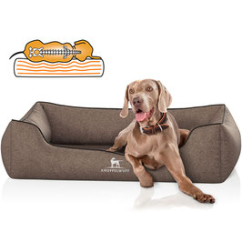 Knuffelwuff Orthopädisches Hundebett aus Velour Amelie in Braun Größe M-XXXL