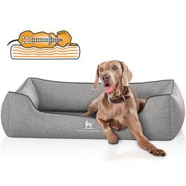 Knuffelwuff Orthopädisches Hundebett aus Velour Amelie in grau Größe M-XXXL