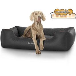 Knuffelwuff orthopädisches Hundebett Madison aus Laser gestepptem Kunstleder Größe M-XXXL schwarz