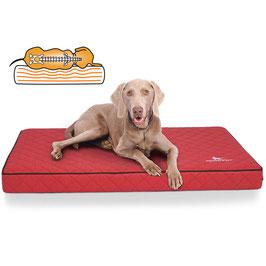 Knuffelwuff Orthopädische Hundematte Juna aus Laser gestepptem Kunstleder Größe L-XXXL in Rot