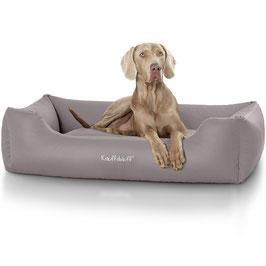 Knuffelwuff Leder Hundebett Sidney Größe M-XXXL grau