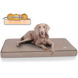 Knuffelwuff Orthopädische Hundematte Juna aus Laser gestepptem Kunstleder Größe L-XXXL in Grau