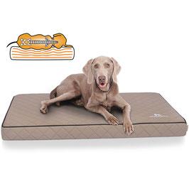 Knuffelwuff Orthopädische Hundematte Juna aus laser gestepptem Kunstleder Größe L-XXXL Grau