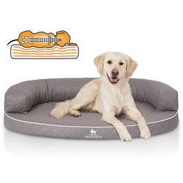Knuffelwuff Orthopädisches halbrundes Hundebett aus laser gestepptem Kunstleder Modell Hanna in grau